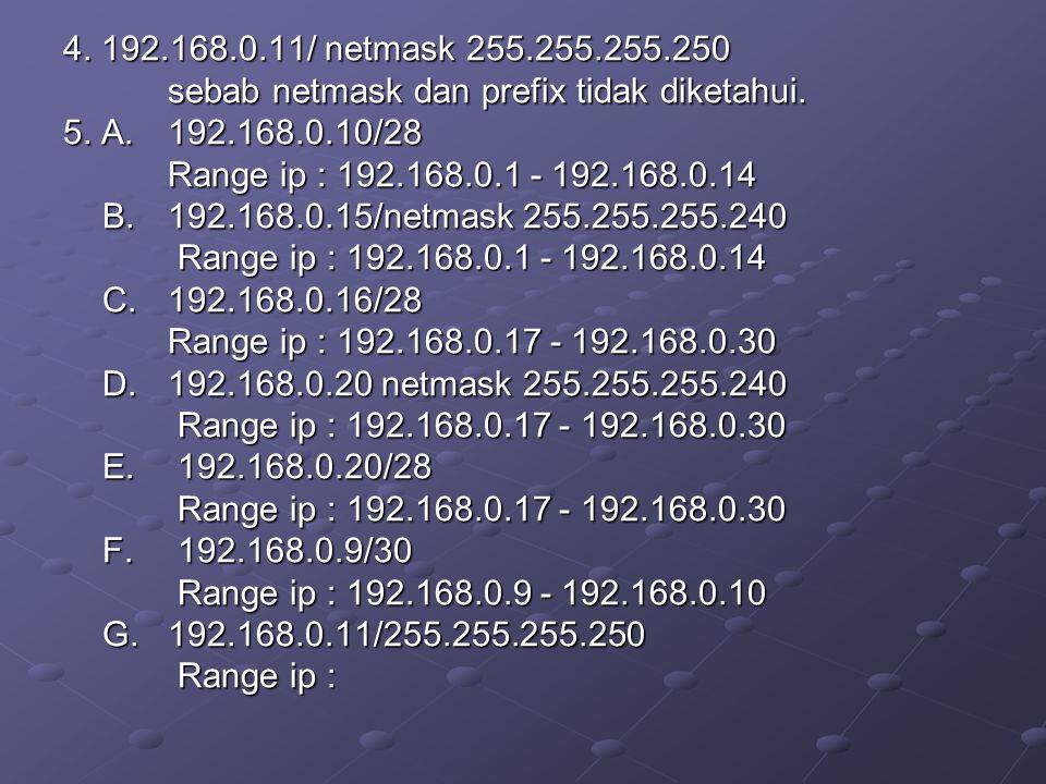4. 192.168.0.11/ netmask 255.255.255.250 sebab netmask dan prefix tidak diketahui. 5. A. 192.168.0.10/28 Range ip : 192.168.0.1 - 192.168.0.14 B.192.1