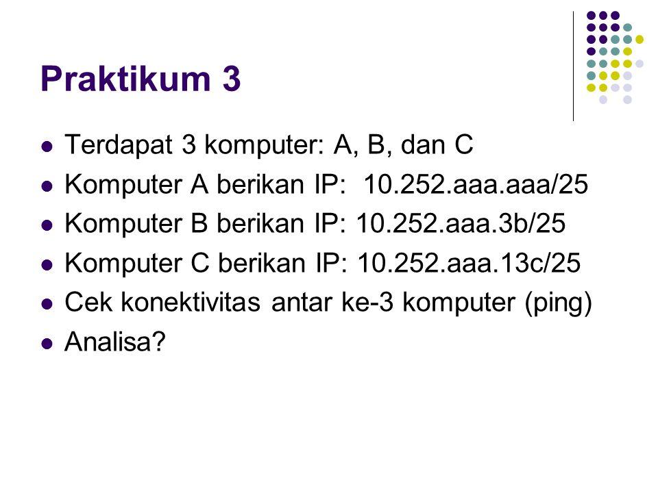 Praktikum 3 Terdapat 3 komputer: A, B, dan C Komputer A berikan IP: 10.252.aaa.aaa/25 Komputer B berikan IP: 10.252.aaa.3b/25 Komputer C berikan IP: 1