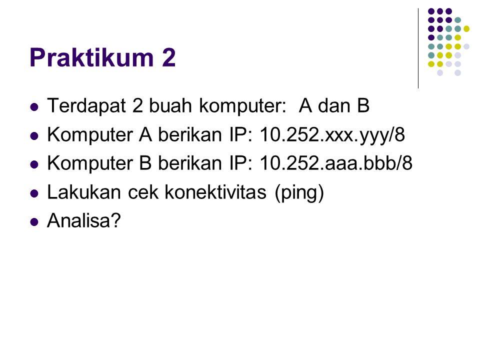 Praktikum 2 Terdapat 2 buah komputer: A dan B Komputer A berikan IP: 10.252.xxx.yyy/8 Komputer B berikan IP: 10.252.aaa.bbb/8 Lakukan cek konektivitas