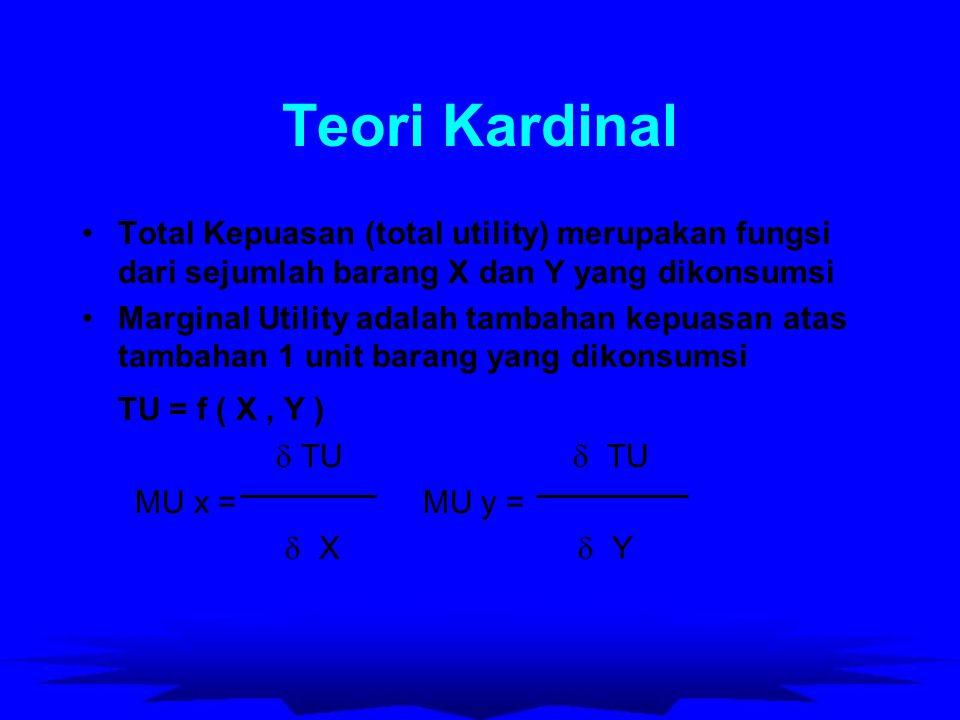 Teori Kardinal Total Kepuasan (total utility) merupakan fungsi dari sejumlah barang X dan Y yang dikonsumsi Marginal Utility adalah tambahan kepuasan