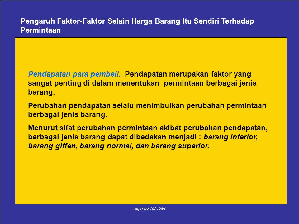 Sujarwo, SP., MP Pendapatan para pembeli.