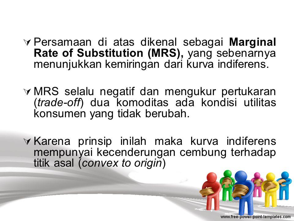 Secara matematis, tingkat pergantian marginal (MRS) dapat dirumuskan sebagai berikut: