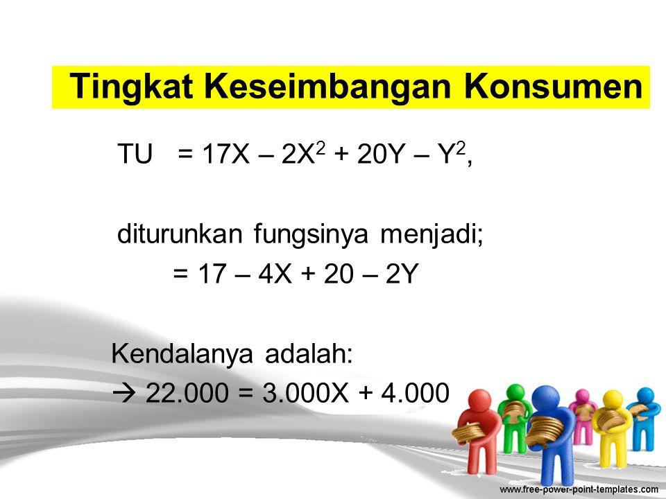 Kombinasi konsumsi produk X dan produk Y yang terikat pada kendala pendapatan dan harga produk, dapat dijelaskan sebagai berikut: 22.000= 3.000X + 4.0