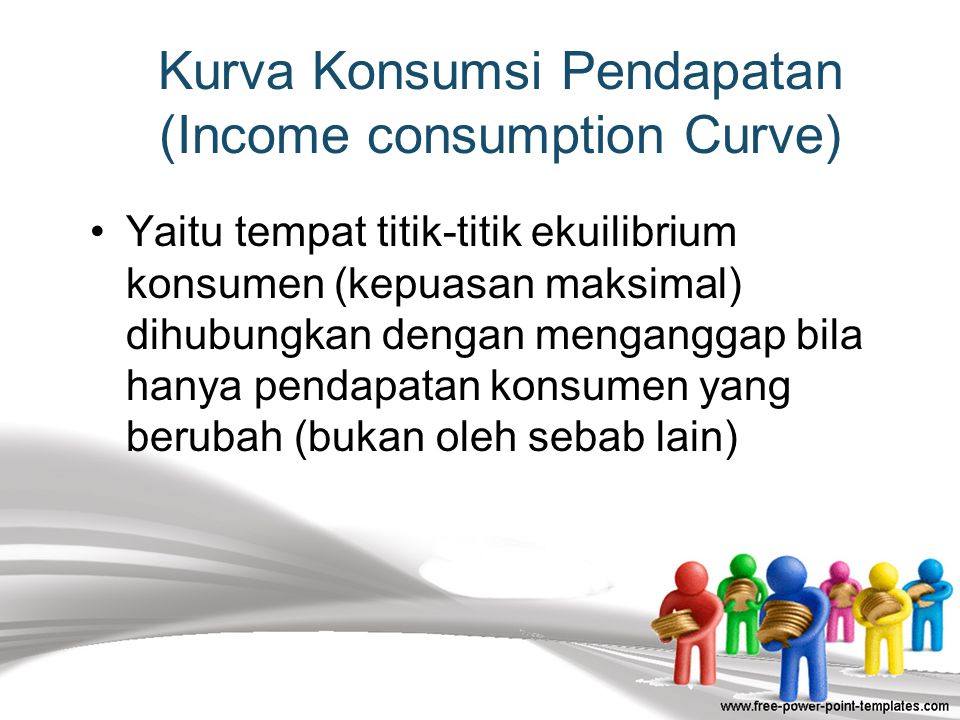 44  Pada umumnya konsumen dalam keadaan seimbang (equilibrium) bila tingkat kemungkinan tertinggi yang ia dapatkan dihadapkan dengan sejumlah pendapa