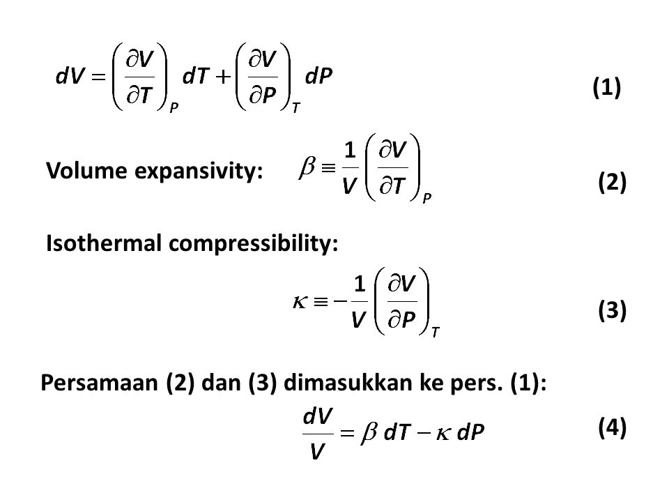 Volume expansivity: Isothermal compressibility: (1) (2) (3) Persamaan (2) dan (3) dimasukkan ke pers.