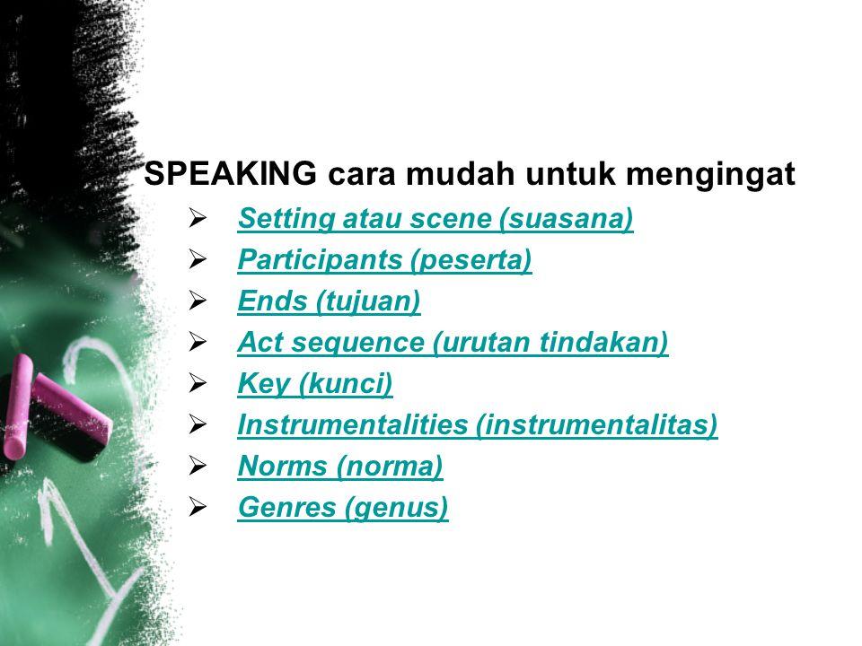 SPEAKING cara mudah untuk mengingat  Setting atau scene (suasana) Setting atau scene (suasana)  Participants (peserta) Participants (peserta)  Ends