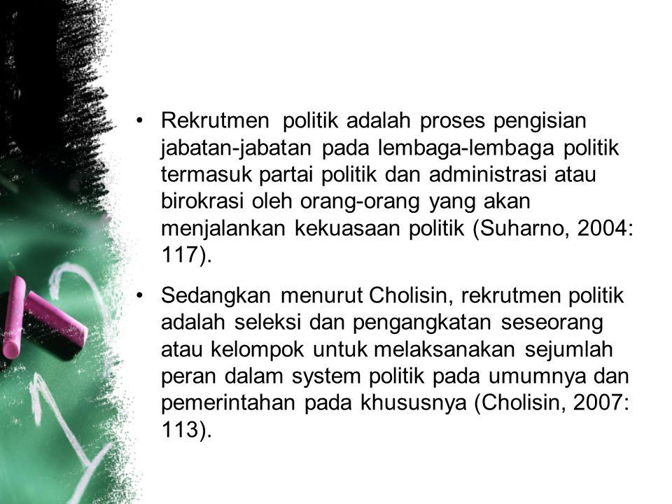 Rekrutmen politik adalah proses pengisian jabatan-jabatan pada lembaga-lembaga politik termasuk partai politik dan administrasi atau birokrasi oleh or