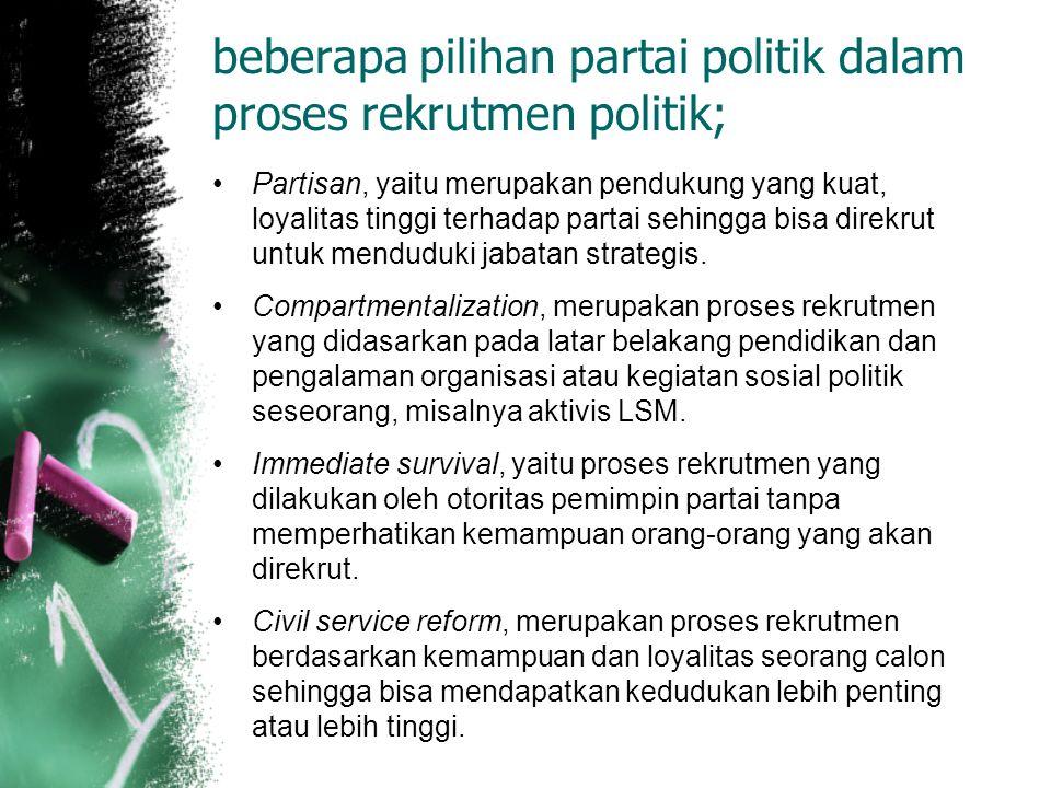 beberapa pilihan partai politik dalam proses rekrutmen politik; Partisan, yaitu merupakan pendukung yang kuat, loyalitas tinggi terhadap partai sehing