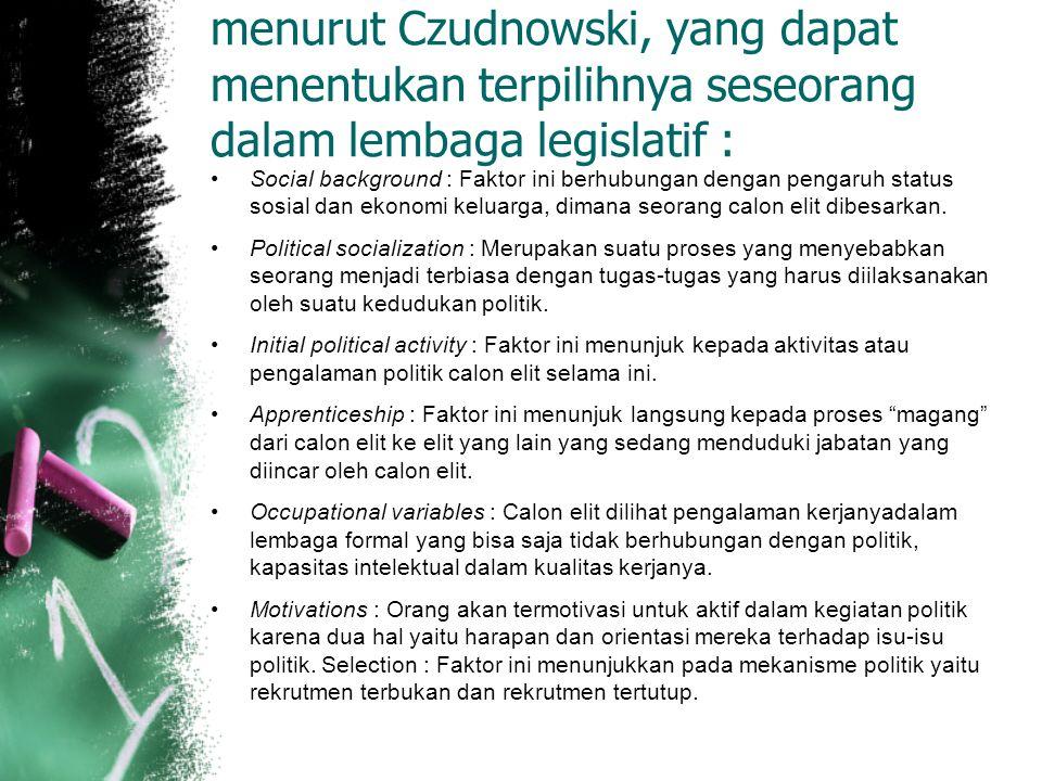 menurut Czudnowski, yang dapat menentukan terpilihnya seseorang dalam lembaga legislatif : Social background : Faktor ini berhubungan dengan pengaruh