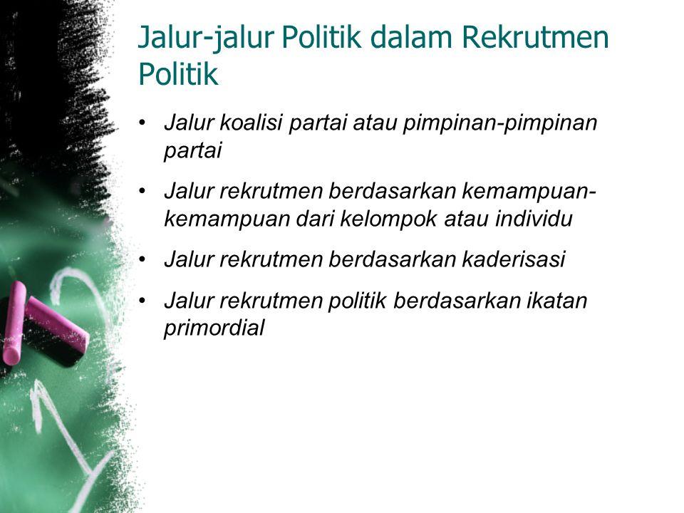Jalur-jalur Politik dalam Rekrutmen Politik Jalur koalisi partai atau pimpinan-pimpinan partai Jalur rekrutmen berdasarkan kemampuan- kemampuan dari k