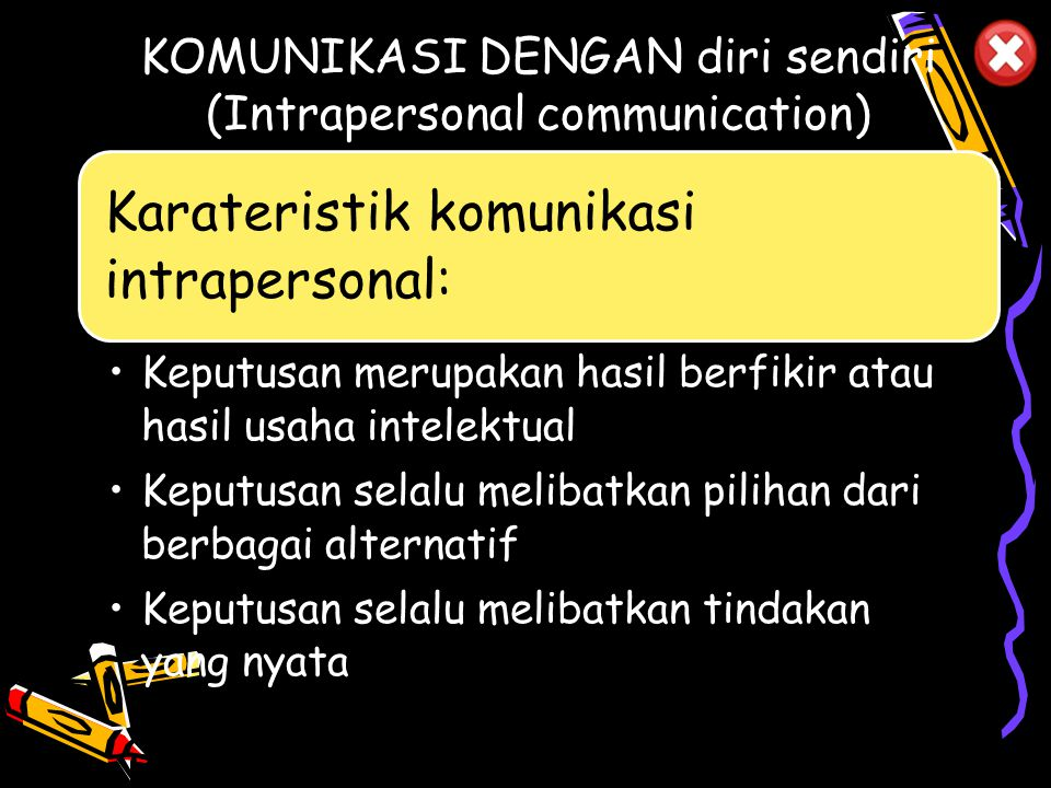 Pola komunikasi di Indonesia bisa di bedakan berdasarkan beberapa pola komunikasi: Komunikasi dengan diri sendiri (Intrapersonal communication) Komuni