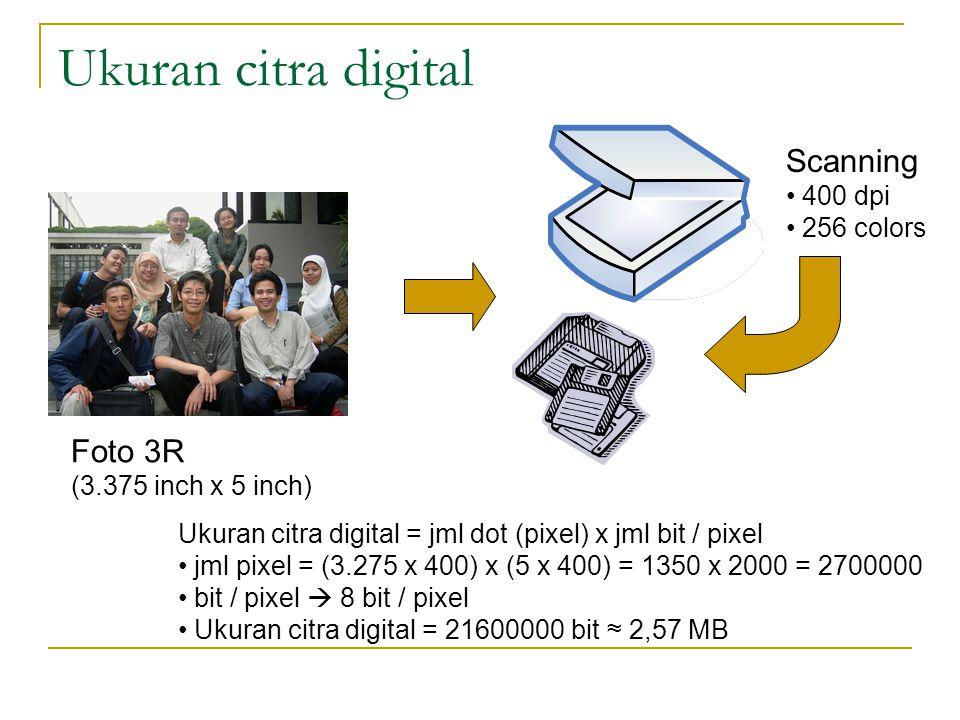 Ukuran citra digital Foto 3R (3.375 inch x 5 inch) Scanning 400 dpi 256 colors Ukuran citra digital = jml dot (pixel) x jml bit / pixel jml pixel = (3