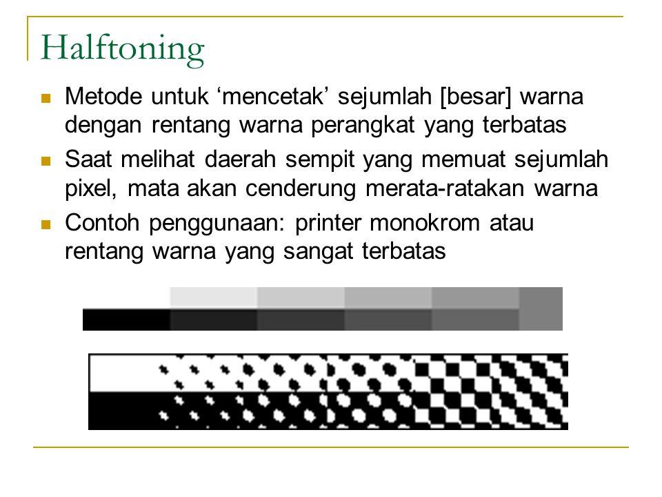 Halftoning Metode untuk 'mencetak' sejumlah [besar] warna dengan rentang warna perangkat yang terbatas Saat melihat daerah sempit yang memuat sejumlah