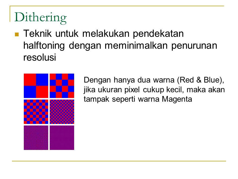 Dithering Teknik untuk melakukan pendekatan halftoning dengan meminimalkan penurunan resolusi Dengan hanya dua warna (Red & Blue), jika ukuran pixel c