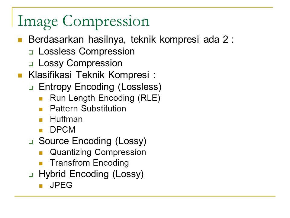 Image Compression Berdasarkan hasilnya, teknik kompresi ada 2 :  Lossless Compression  Lossy Compression Klasifikasi Teknik Kompresi :  Entropy Enc