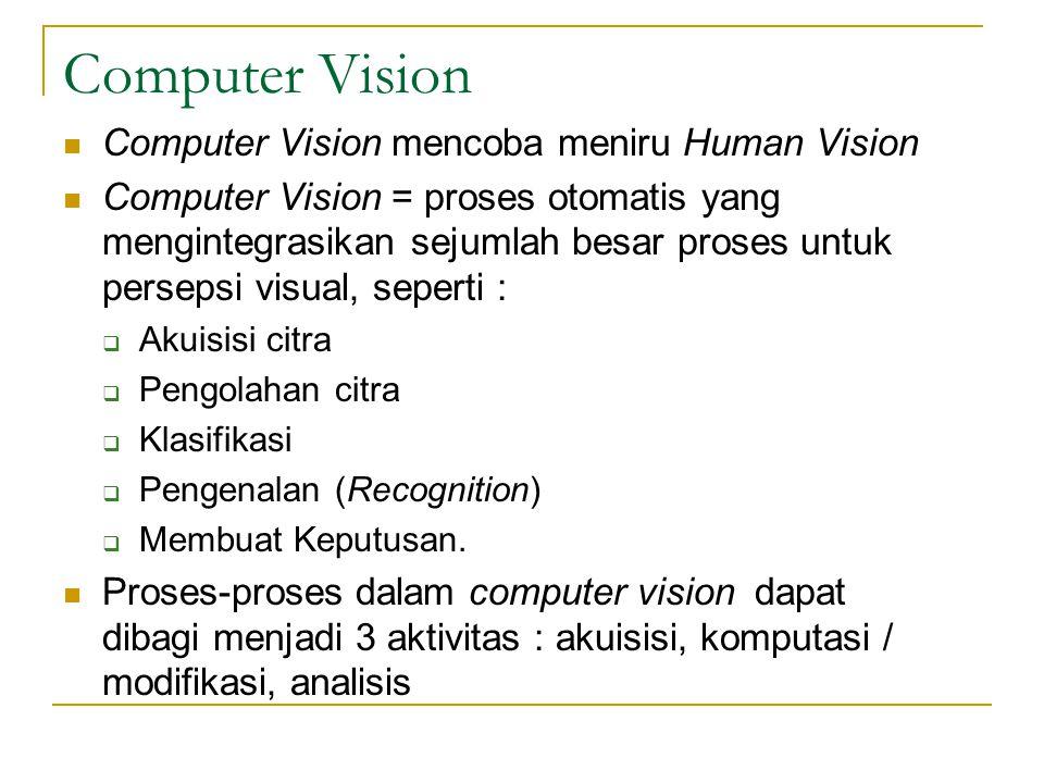 Computer Vision Computer Vision mencoba meniru Human Vision Computer Vision = proses otomatis yang mengintegrasikan sejumlah besar proses untuk persep