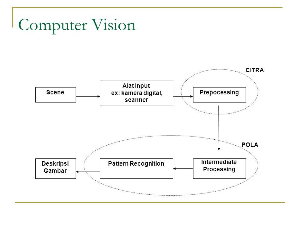 Computer Vision Scene Alat Input ex: kamera digital, scanner Prepocessing Intermediate Processing Deskripsi Gambar Pattern Recognition CITRA POLA