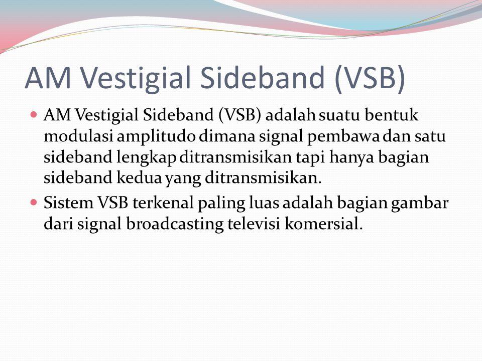 AM Vestigial Sideband (VSB) AM Vestigial Sideband (VSB) adalah suatu bentuk modulasi amplitudo dimana signal pembawa dan satu sideband lengkap ditrans