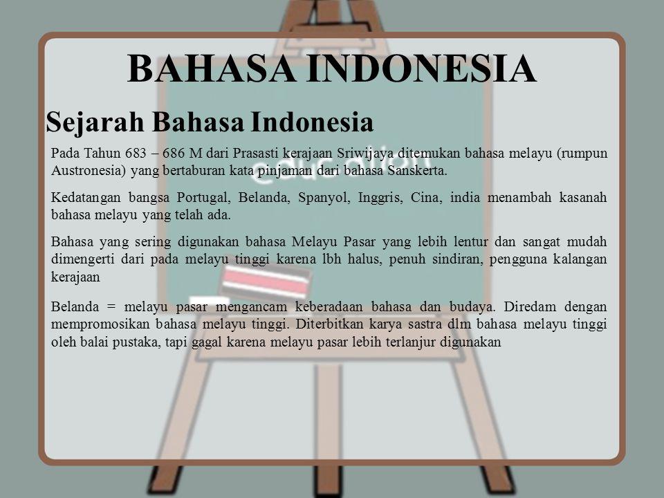 BAHASA INDONESIA Sejarah Bahasa Indonesia Pada Tahun 683 – 686 M dari Prasasti kerajaan Sriwijaya ditemukan bahasa melayu (rumpun Austronesia) yang be