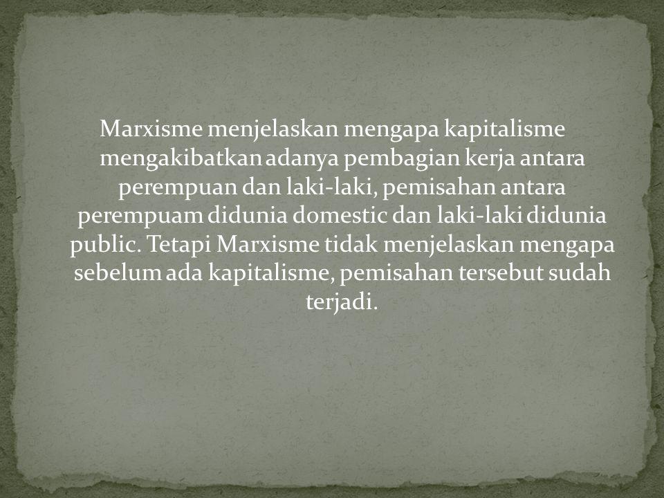 Marxisme menjelaskan mengapa kapitalisme mengakibatkan adanya pembagian kerja antara perempuan dan laki-laki, pemisahan antara perempuam didunia domes
