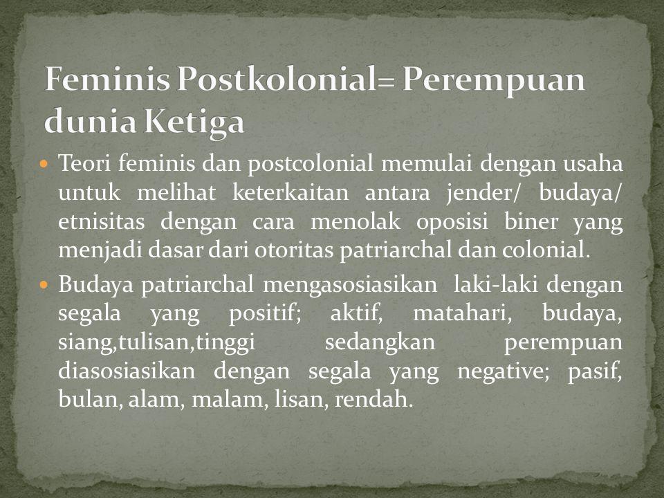 Teori feminis dan postcolonial memulai dengan usaha untuk melihat keterkaitan antara jender/ budaya/ etnisitas dengan cara menolak oposisi biner yang