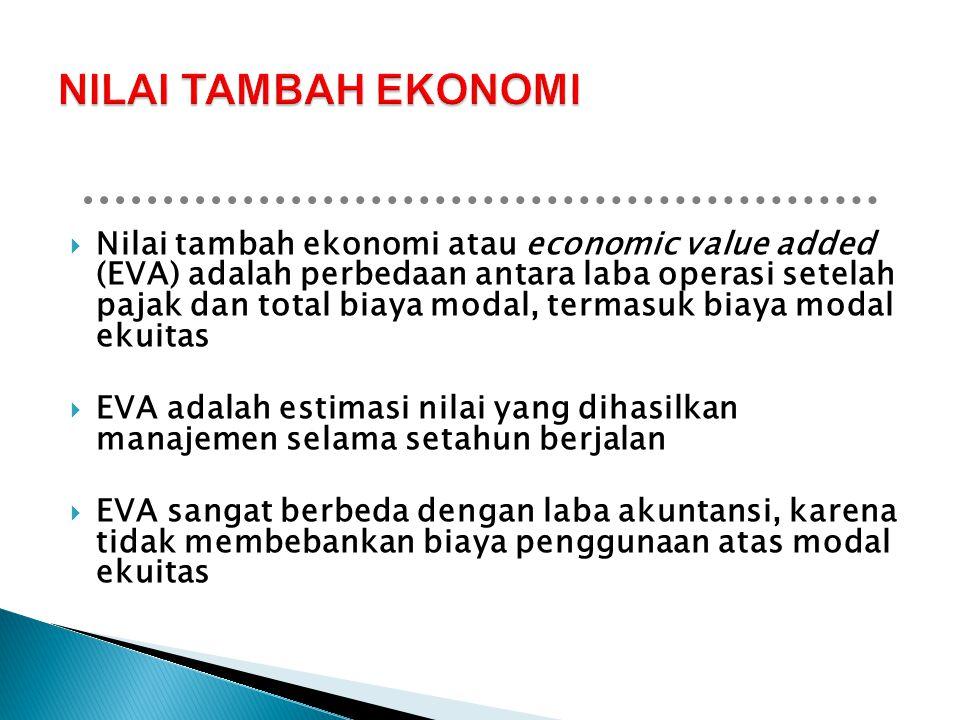  Nilai tambah ekonomi atau economic value added (EVA) adalah perbedaan antara laba operasi setelah pajak dan total biaya modal, termasuk biaya modal