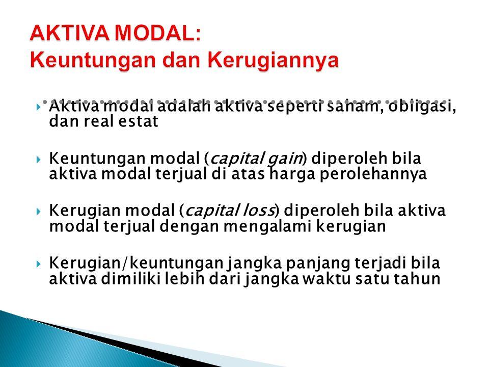  Aktiva modal adalah aktiva seperti saham, obligasi, dan real estat  Keuntungan modal (capital gain) diperoleh bila aktiva modal terjual di atas har