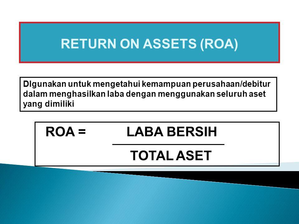 RETURN ON ASSETS (ROA) ROA = LABA BERSIH TOTAL ASET DIgunakan untuk mengetahui kemampuan perusahaan/debitur dalam menghasilkan laba dengan menggunakan