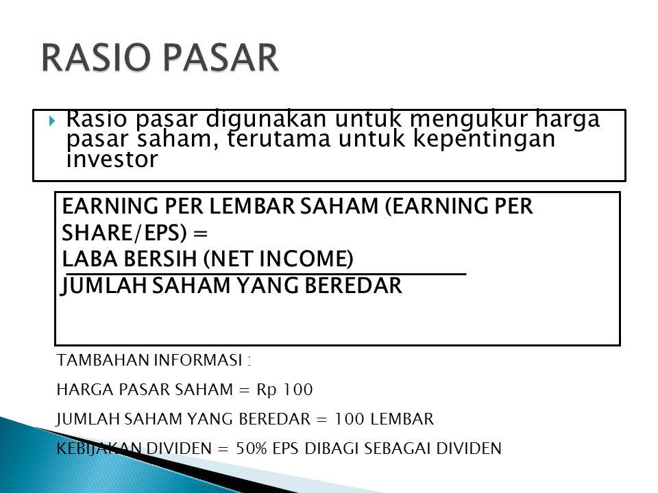  Rasio pasar digunakan untuk mengukur harga pasar saham, terutama untuk kepentingan investor EARNING PER LEMBAR SAHAM (EARNING PER SHARE/EPS) = LABA
