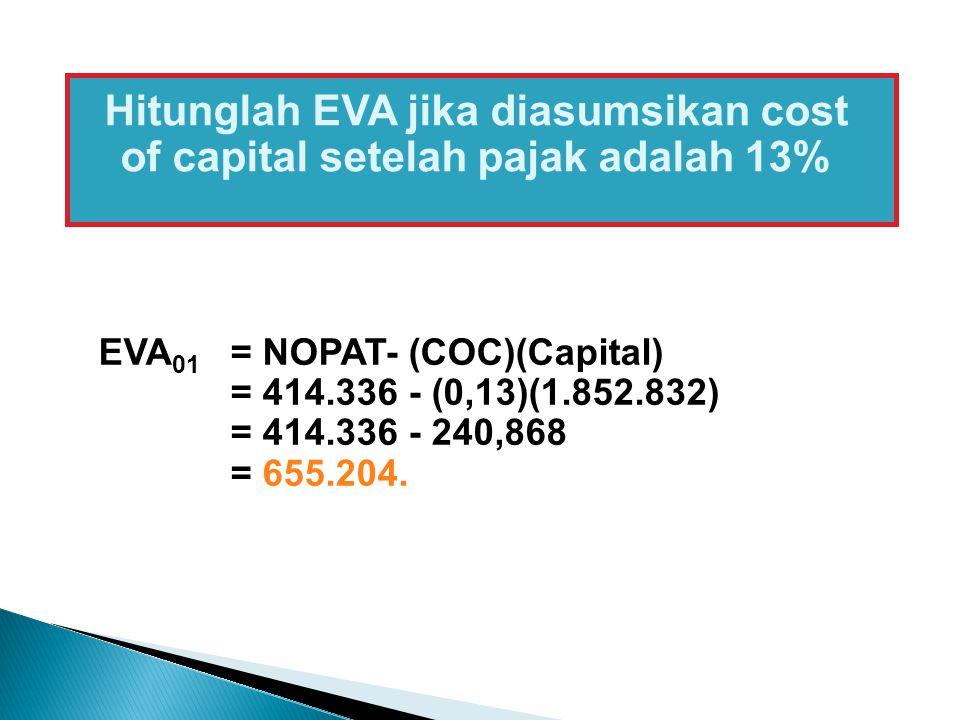 Hitunglah EVA jika diasumsikan cost of capital setelah pajak adalah 13% EVA 01 = NOPAT- (COC)(Capital) = 414.336 - (0,13)(1.852.832) = 414.336 - 240,8