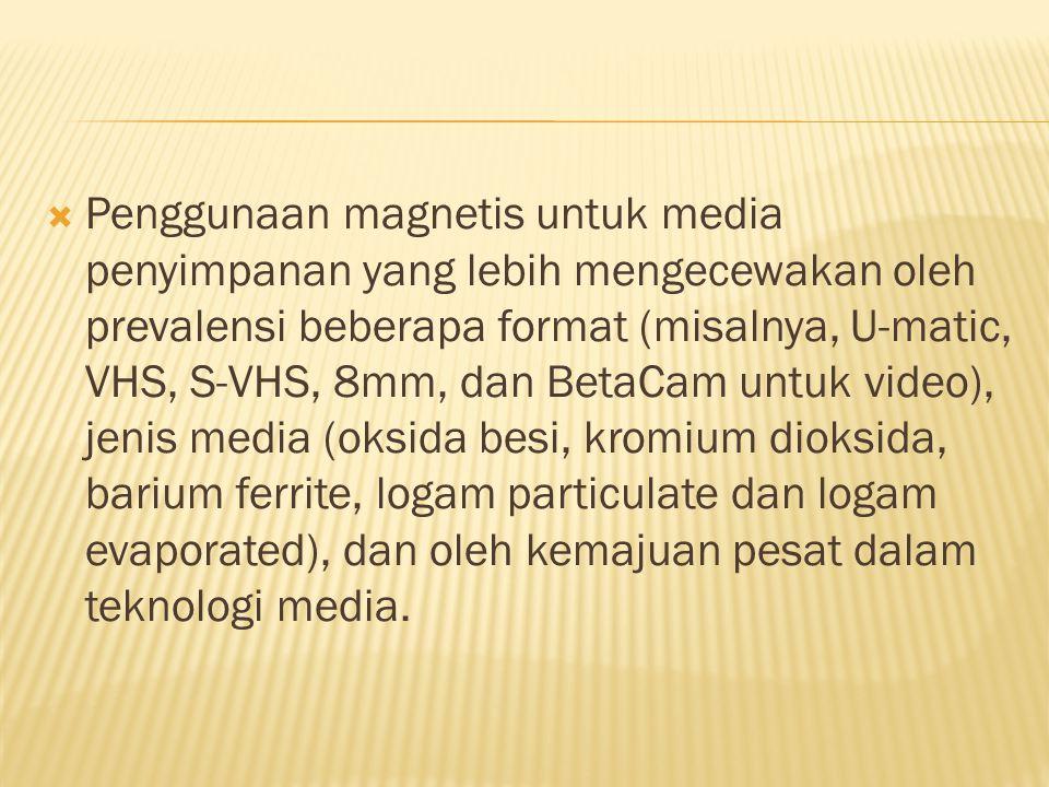  Penggunaan magnetis untuk media penyimpanan yang lebih mengecewakan oleh prevalensi beberapa format (misalnya, U-matic, VHS, S-VHS, 8mm, dan BetaCam