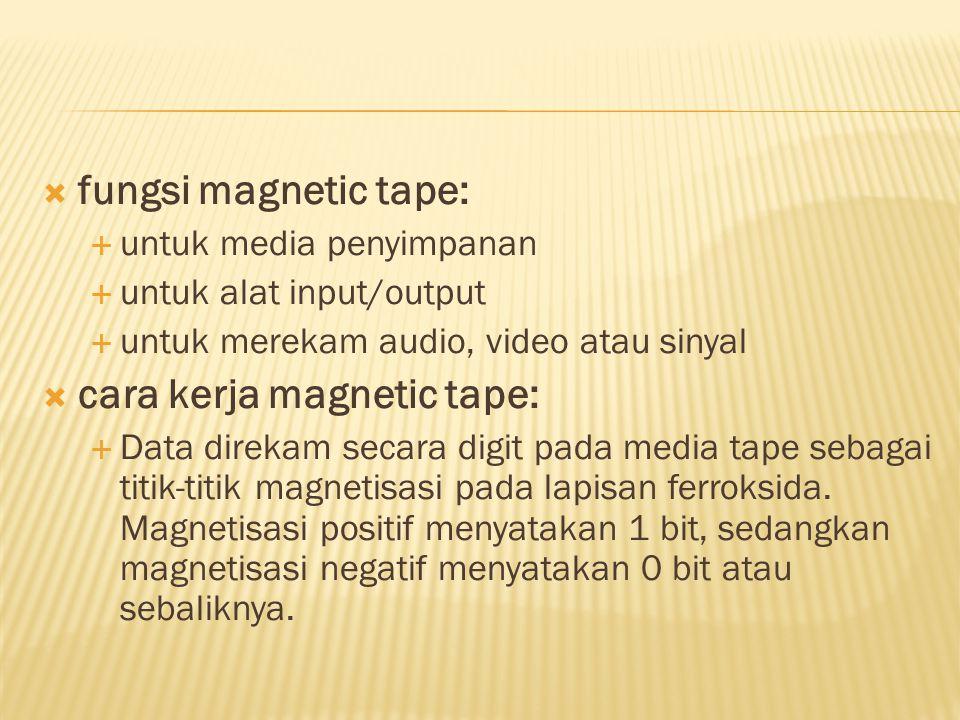  fungsi magnetic tape:  untuk media penyimpanan  untuk alat input/output  untuk merekam audio, video atau sinyal  cara kerja magnetic tape:  Dat