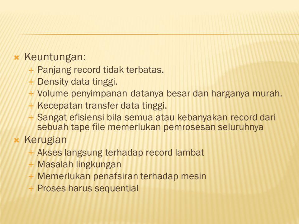  Keuntungan:  Panjang record tidak terbatas.  Density data tinggi.  Volume penyimpanan datanya besar dan harganya murah.  Kecepatan transfer data