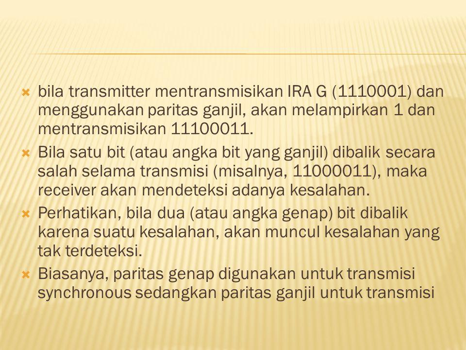  bila transmitter mentransmisikan IRA G (1110001) dan menggunakan paritas ganjil, akan melampirkan 1 dan mentransmisikan 11100011.  Bila satu bit (a