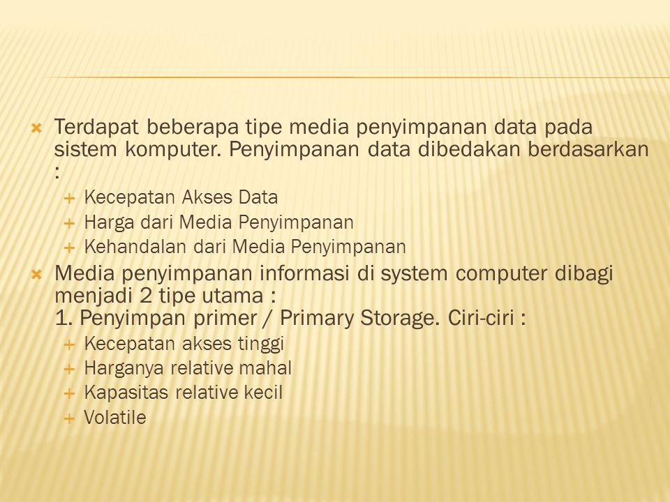  Terdapat beberapa tipe media penyimpanan data pada sistem komputer. Penyimpanan data dibedakan berdasarkan :  Kecepatan Akses Data  Harga dari Med