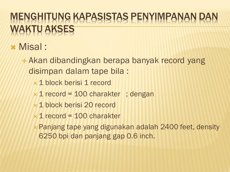  Misal :  Akan dibandingkan berapa banyak record yang disimpan dalam tape bila :  1 block berisi 1 record  1 record = 100 charakter ; dengan  1 b