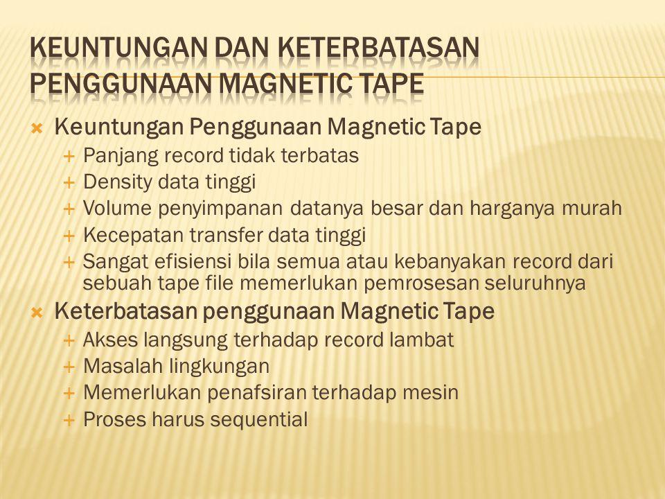  Keuntungan Penggunaan Magnetic Tape  Panjang record tidak terbatas  Density data tinggi  Volume penyimpanan datanya besar dan harganya murah  Ke