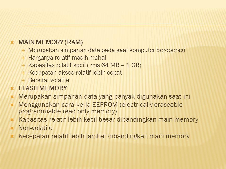  MAIN MEMORY (RAM)  Merupakan simpanan data pada saat komputer beroperasi  Harganya relatif masih mahal  Kapasitas relatif kecil ( mis 64 MB – 1 G