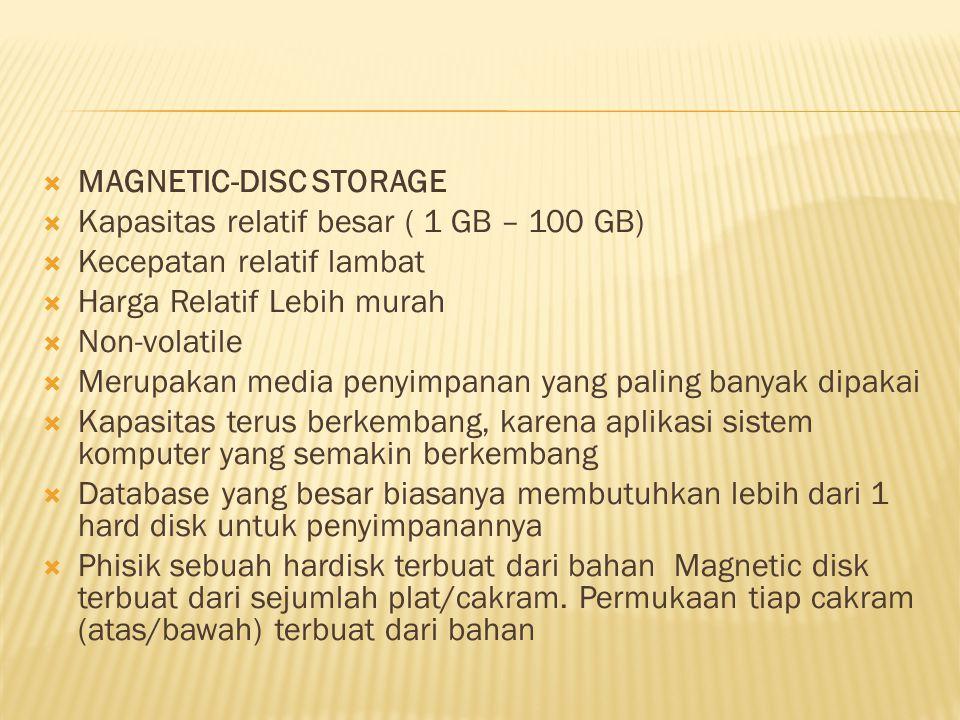  MAGNETIC-DISC STORAGE  Kapasitas relatif besar ( 1 GB – 100 GB)  Kecepatan relatif lambat  Harga Relatif Lebih murah  Non-volatile  Merupakan m