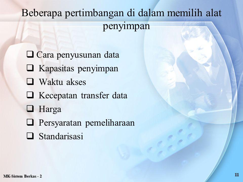 MK-Sistem Berkas - 2  Cara penyusunan data  Kapasitas penyimpan  Waktu akses  Kecepatan transfer data  Harga  Persyaratan pemeliharaan  Standar