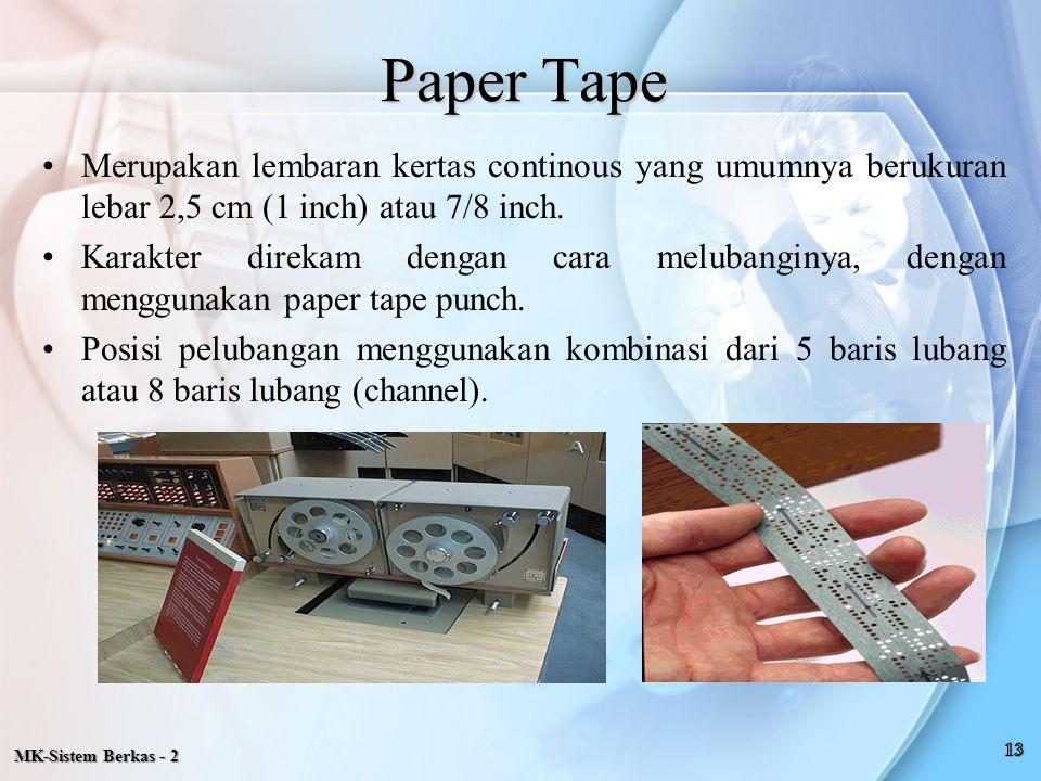 Paper Tape Merupakan lembaran kertas continous yang umumnya berukuran lebar 2,5 cm (1 inch) atau 7/8 inch. Karakter direkam dengan cara melubanginya,
