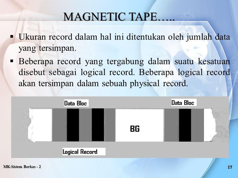  Ukuran record dalam hal ini ditentukan oleh jumlah data yang tersimpan.  Beberapa record yang tergabung dalam suatu kesatuan disebut sebagai logica