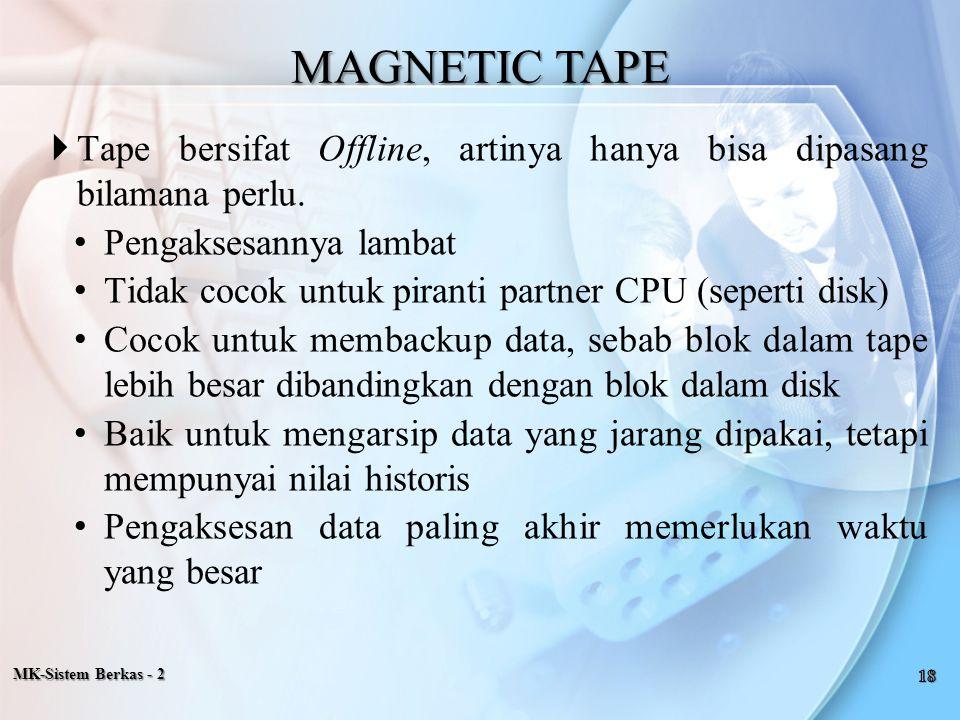 MK-Sistem Berkas - 2  Tape bersifat Offline, artinya hanya bisa dipasang bilamana perlu. Pengaksesannya lambat Tidak cocok untuk piranti partner CPU