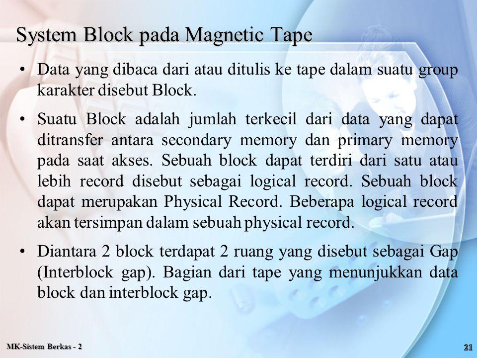 System Block pada Magnetic Tape Data yang dibaca dari atau ditulis ke tape dalam suatu group karakter disebut Block. Suatu Block adalah jumlah terkeci