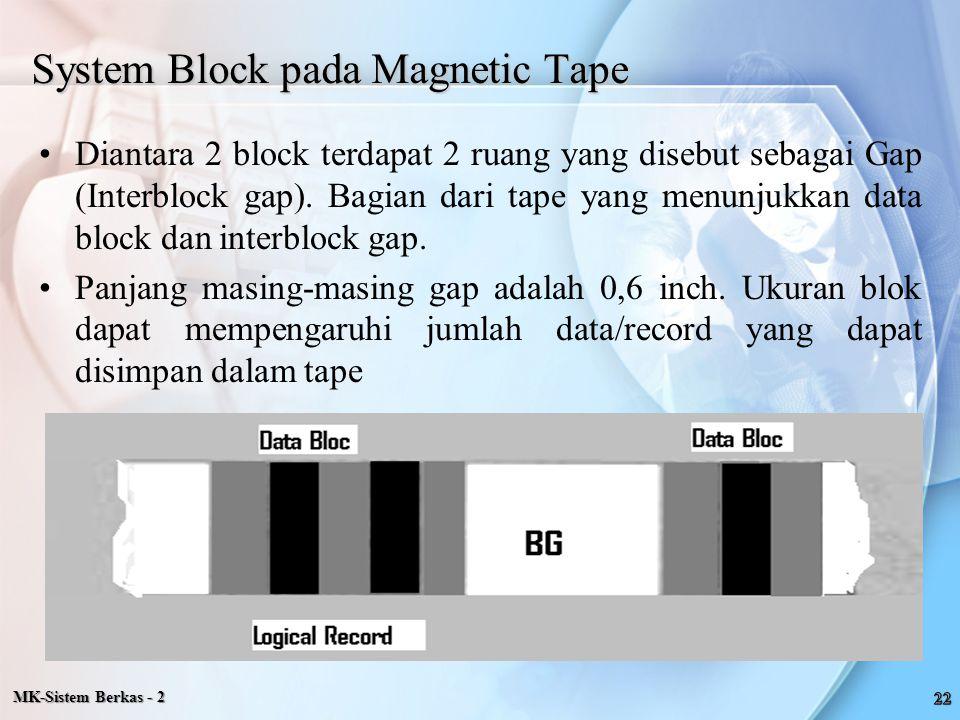 System Block pada Magnetic Tape Diantara 2 block terdapat 2 ruang yang disebut sebagai Gap (Interblock gap). Bagian dari tape yang menunjukkan data bl