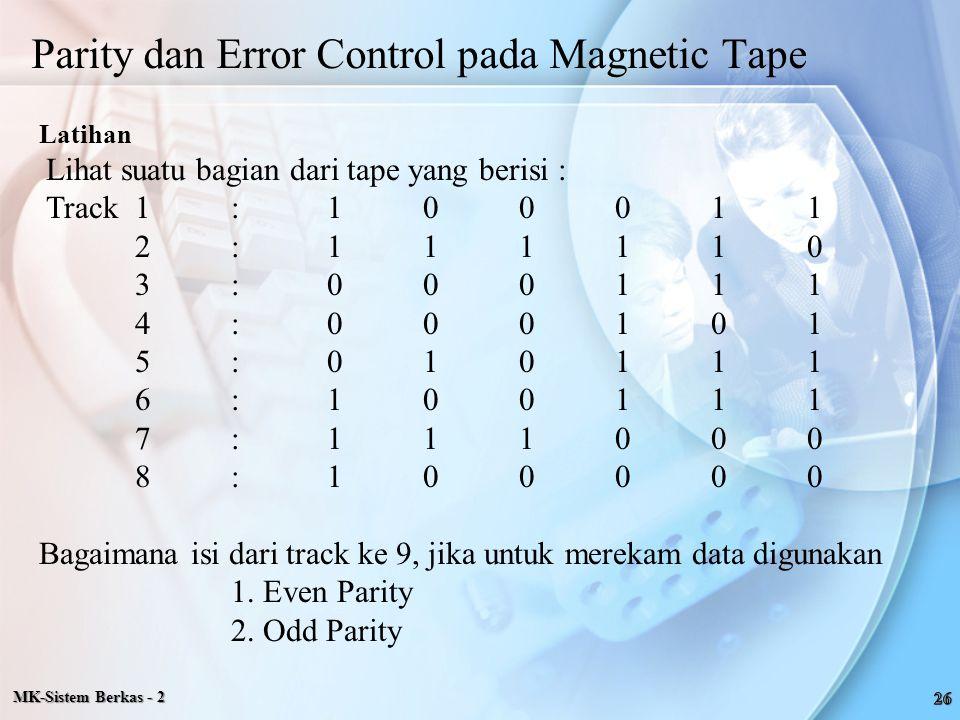 Latihan Lihat suatu bagian dari tape yang berisi : Track 1:100011 2:111110 3:000111 4:000101 5:010111 6:100111 7:111000 8:100000 Bagaimana isi dari tr