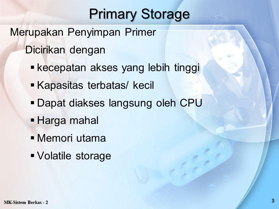 MK-Sistem Berkas - 2 CONTROL UNIT SECTION INPUTSTORAGEAREAPROGRAM STORAGE AREA SECTION OUTPUTSTORAGEAREA WORKING STORAGE AREA ARITHMETIKA LOGICAL UNIT SECTION PRIMARY STORAGE SECTION terdiri dari 4 bagian yaitu : Primary Storage