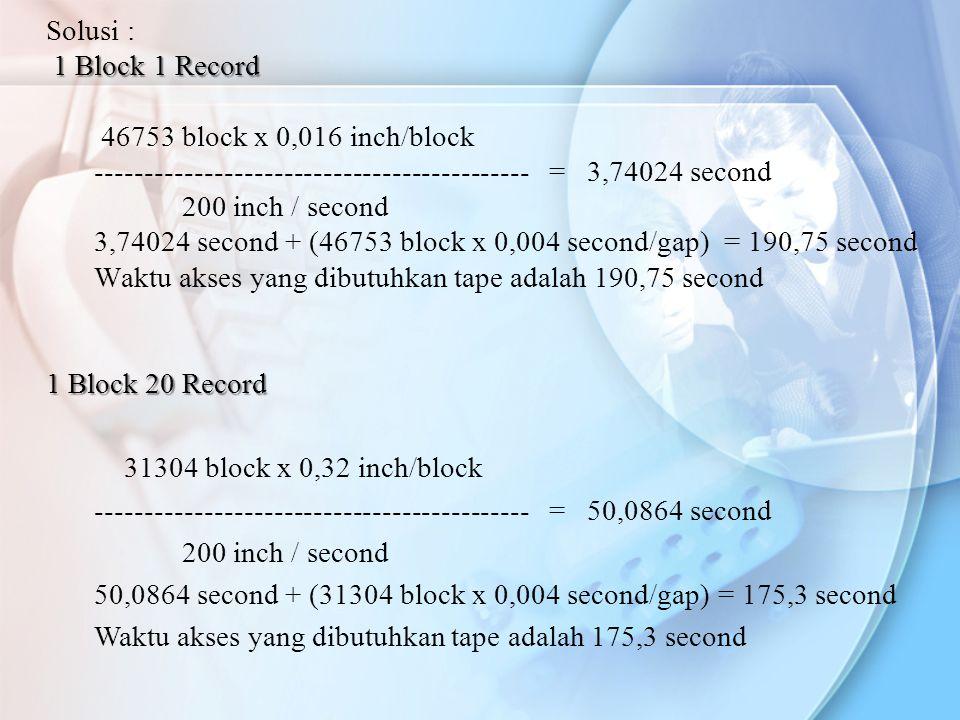 Solusi : 1 Block 1 Record 46753 block x 0,016 inch/block -------------------------------------------- = 3,74024 second 200 inch / second 3,74024 secon