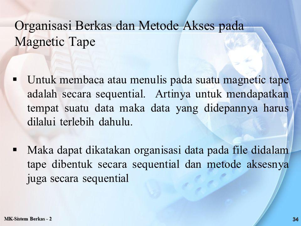 Organisasi Berkas dan Metode Akses pada Magnetic Tape  Untuk membaca atau menulis pada suatu magnetic tape adalah secara sequential. Artinya untuk me