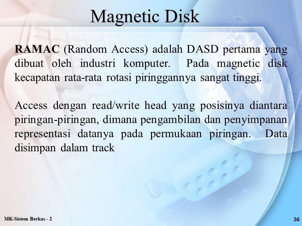 Magnetic Disk RAMAC (Random Access) adalah DASD pertama yang dibuat oleh industri komputer. Pada magnetic disk kecapatan rata-rata rotasi piringgannya
